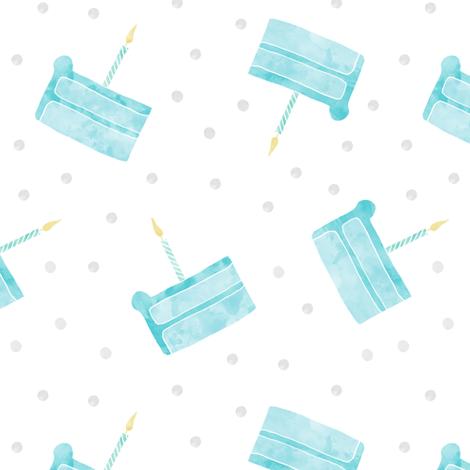 single slice birthday cake - blue fabric by littlearrowdesign on Spoonflower - custom fabric