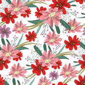 Blush & red flowers, sprigs, leaves