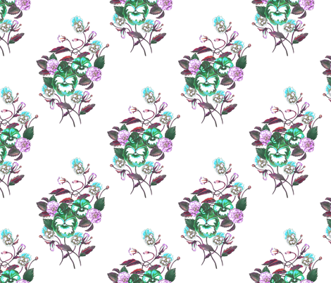 Pansy Turquoise Green_Lilac_Aqua_White fabric by thistleandfox on Spoonflower - custom fabric