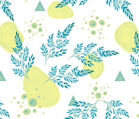 abstract watercolor leaves fabric by eleang on Spoonflower - custom fabric