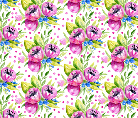 Watercolor purple flowers, polka dots fabric by graphicsdish on Spoonflower - custom fabric