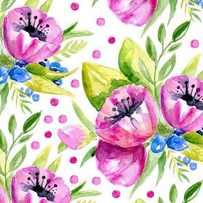 Watercolor purple flowers, polka dots