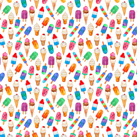 Teeny Tiny Watercolor Summer Ice Creams on White fabric by micklyn on Spoonflower - custom fabric