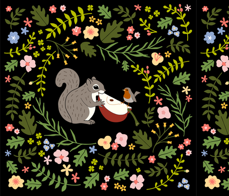 Squirrel and Robin: BgBlack fabric by mia_valdez on Spoonflower - custom fabric