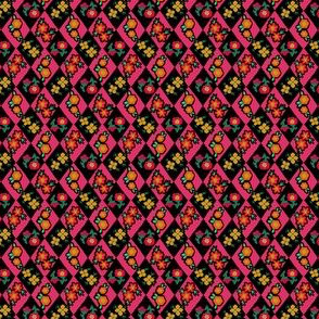 Flower and Rhombus Magenta Black