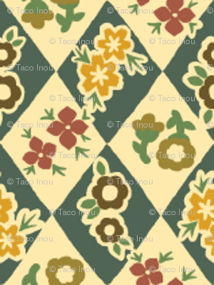 Flower and Rhombus Beige