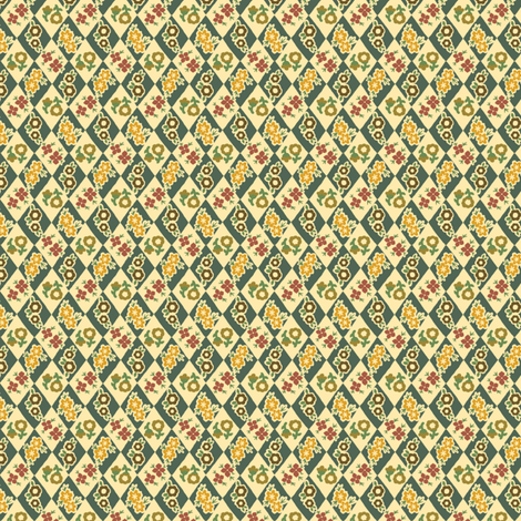 Flower and Rhombus Beige fabric by tacoinou on Spoonflower - custom fabric