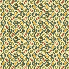 Flower and Rhombus Beige