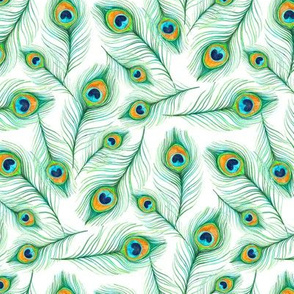 Scattered Emerald Peacock Feathers in Watercolor