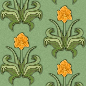 Cut Paper Art Nouveau Amaryllis Orange