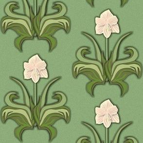 Cut Paper Art Nouveau Amaryllis White