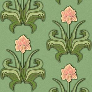 Cut Paper Art Nouveau Amaryllis Pink
