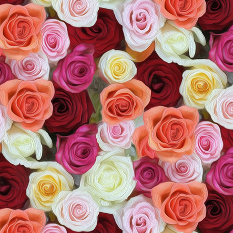 oil painted roses fabric by stofftoy on Spoonflower - custom fabric