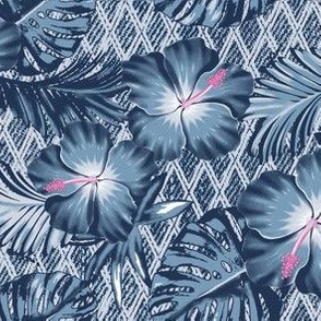 Denim Hawaiian Floral