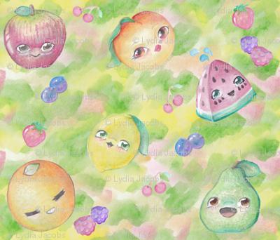 Kawaii Watercolor Fruit