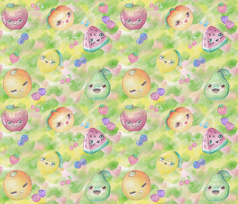 Kawaii Watercolor Fruit fabric by lyddiedoodles on Spoonflower - custom fabric