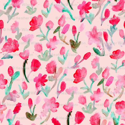 Abstract Flowers on Pink