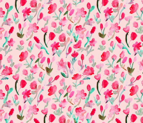 Abstract Flowers on Pink fabric by geekygamergirl on Spoonflower - custom fabric