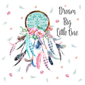 "20""x20"" Pillows / Aqua & Pink Dream Catcher"