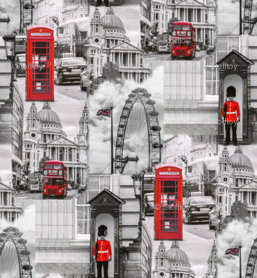london in gray and red