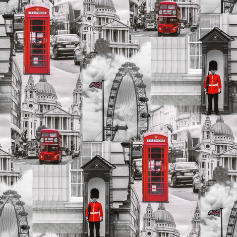 london in gray and red fabric by stofftoy on Spoonflower - custom fabric