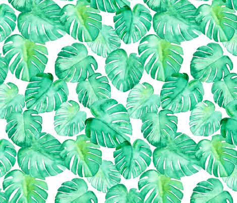 (jumbo scale) watercolor monstera leaf fabric by littlearrowdesign on Spoonflower - custom fabric