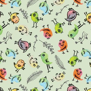 Color birds and florals