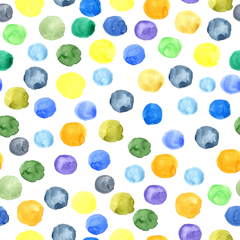 Multicolor watercolor circles fabric by peachbloom on Spoonflower - custom fabric