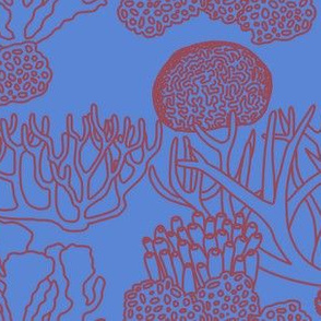Coral (dark mauve on mid blue)