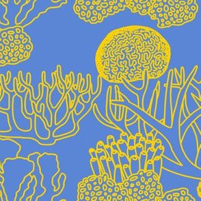 Coral (yellow on mid blue)