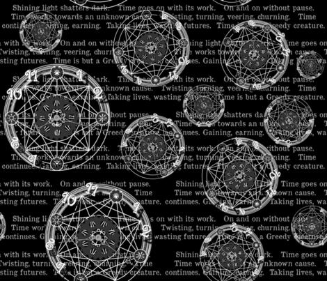 Crystal Clocks  White on Black fabric by engravogirl on Spoonflower - custom fabric