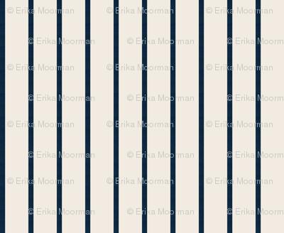 baseball stripes- navy on cream