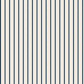 baseball stripes- navy on cream