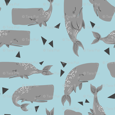 Whales and Triangles on Blue