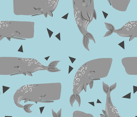 Whales and Triangles on Blue fabric by taraput on Spoonflower - custom fabric