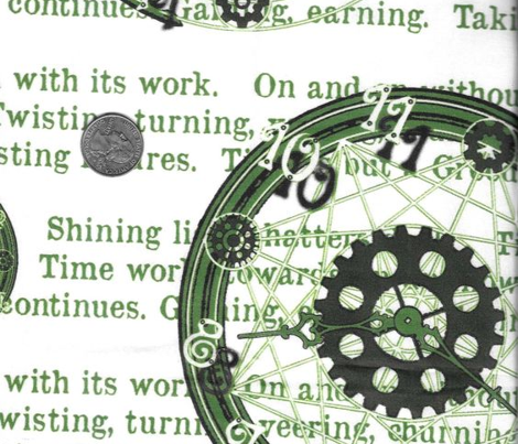 Crystal Clocks Green on White