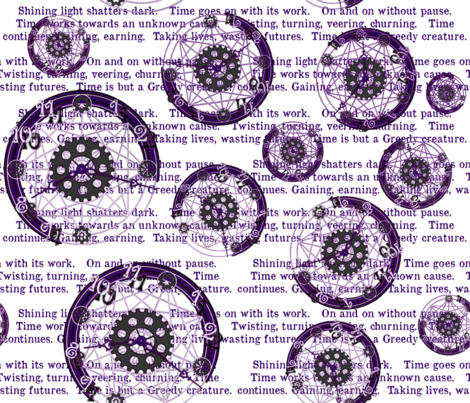Crystal Clocks Purple on White fabric by engravogirl on Spoonflower - custom fabric