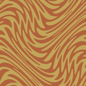 Bayeux feather swirl - rust and tan