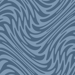 Bayeux feather swirl - denim blue