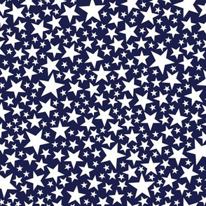 Star Shower* (White on Jackie Blue) || stars outer space galaxy universe pop art patriotic independence day July 4th geometric