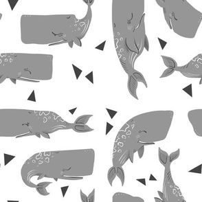 Whales and Triangles on White - Smaller Scale