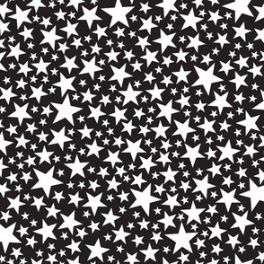 Star Shower* (Black and White) || stars outer space galaxy universe pop art patriotic independence day July 4th geometric