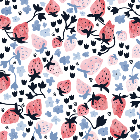 Strawberry vines in watercolor fabric by lburleighdesigns on Spoonflower - custom fabric