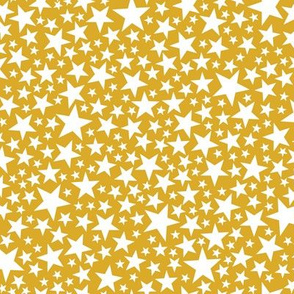 Star Shower* (White on Gold Marilyn) || stars outer space galaxy universe pop art patriotic independence day July 4th geometric kids children baby nursery mustard sparkle sparkly glitter