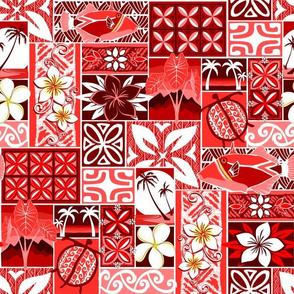 New Hawaiian Motif - red