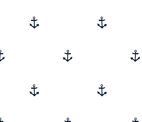 Anchor white and navy fabric by larageorgine on Spoonflower - custom fabric
