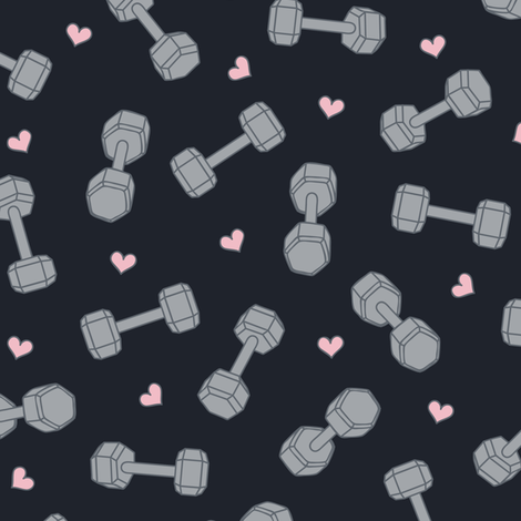 I ♥ STRENGTH (Pink Hearts opt2) fabric by sarahcatherinedesignsinc on Spoonflower - custom fabric