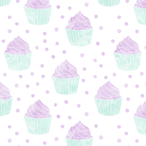 watercolor cupcakes (purple & blue) fabric by littlearrowdesign on Spoonflower - custom fabric