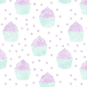 watercolor cupcakes (purple & blue)