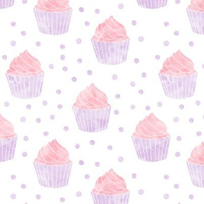 watercolor cupcake (pink & purple)